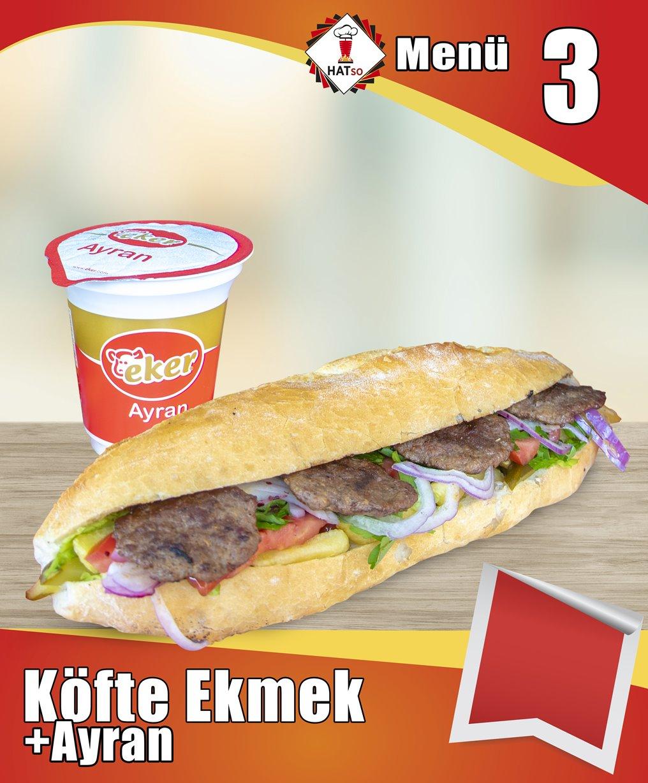 Menü-3 Köfte Ekmek + Ayran