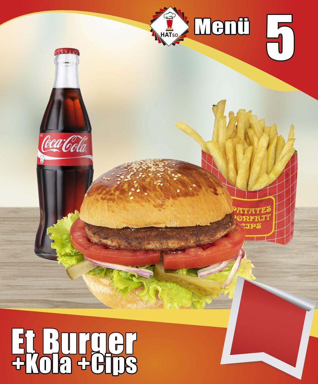 Menü-5 Et Burger +Patates Cips +Kola